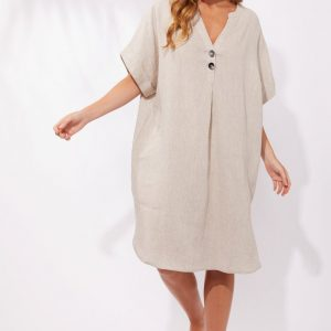 Haven Majorca Shirt Dress Sand Linen Women's Fashion