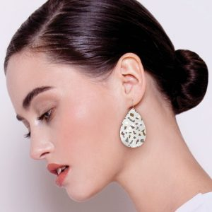 MOE MOE NEUTRAL TONES TERRAZZO GRID MEDIUM TEAR DROP EARRING