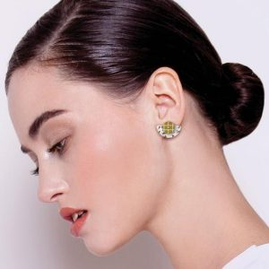 Moe Moe Neutral Tones Terrazzo Grid Layered Small Moon Stud Earrings