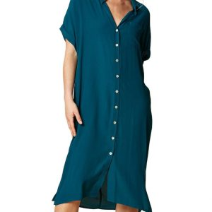eb & ive Ohana Shirt Dress teal viscose East Gosford summer dress