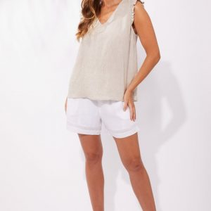 Haven Palma Top Sand linen Ladies Fashion