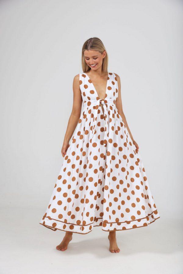 The Shanty Corp Positano Dress - Tan Polka Dot