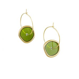 Tiger Tree Spinning Hoop Earring Green
