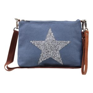 Sassy Duck bags canvas wristlet star power denim