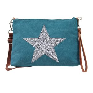 Sassy Duck bags canvas wristlet star power turquoise