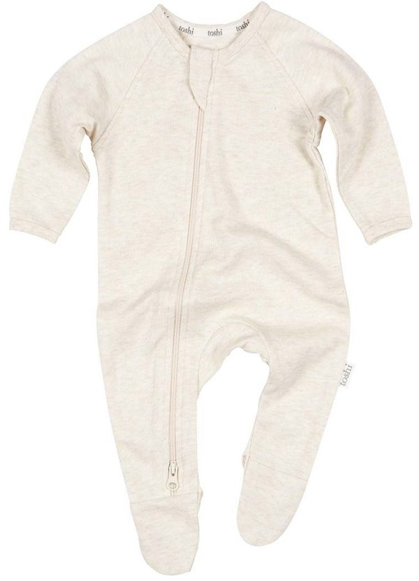 TOSHI organic cotton baby onesie oatmeal