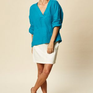 eb & ive Tribu Blouse Cyan East Gosford blue linen shirt blouse