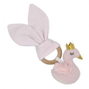 Living Textiles Wooden Teether Rattle Swan